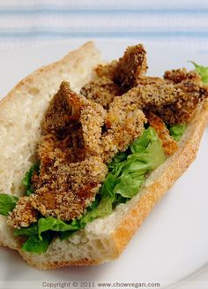 Oyster Mushroom Po' Boy - I think Nick would love this one.    *I'm usually not a big fan of mushrooms, but this was pretty tasty! We'll definitely be making this one again.