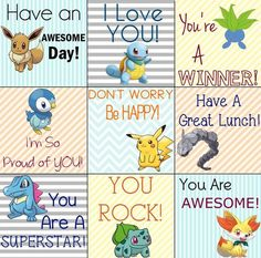 Free Pokemon printable lunch notes for back to school! Let them take their Pokemon Go game with them to lunch! Notes For Kids Lunches, Kids Meals, Pokemon Birthday, Pokemon Party, Back To School, Activities For Kids, School Lunches, Kid Lunches, Kid Snacks