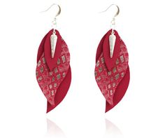 leaf earrings leather earrings leather leaf purple by Sarayana