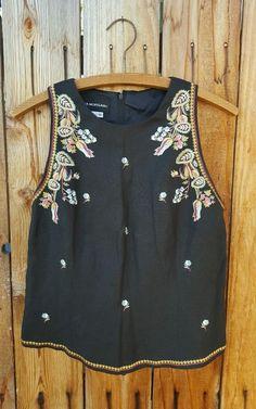 Free Spirit People Black Floral Embroidered Linen Donna Morgan Vtg Boho Top 10 M…
