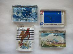 4 Alaska Upcycled Postage Stamp Glass Magnets by BadCatCraft