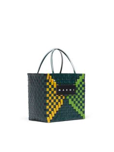 MARNI MARKET Squared Shopping Bag In Woven Polypropylene With Transparent Green Handles from the Marni Spring/Summer 2020 collection Unisex. Watering Plants, My Style Bags, Marni, Shopping Bag, Purses And Bags, Artisan, Basket, Handle, Tote Bag