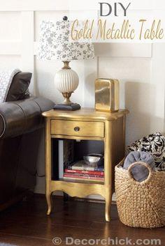 DIY Gold Metallic Table Furniture Makeover | www.decorchick.com