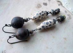 SALE  Beaded Earrings  Polymer Clay Beads  Wood by shipwreckdandy, $24.00