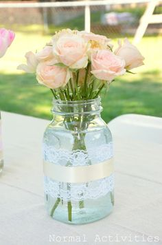 My little sister (Sarah) is getting married (sniff, sniff *tear*) I got to host her bridal shower this weekend and it was so much fun. Mason Jar Centerpieces, Mason Jar Diy, Wedding Centerpieces, Mason Jar Lace, Centerpiece Ideas, Bridal Shower Decorations, Wedding Decorations, Birthday Decorations, Our Wedding