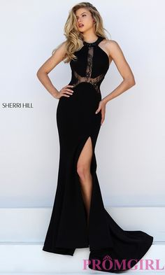 Sherri Hill Long Black Illusion Lace Dress 78a7e85df6ae