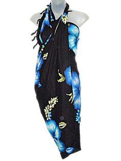 Hawaiian Long Sarong- Black With Blue & Aqua Hibiscus Flowers Blue Hibiscus, Hibiscus Flowers, Hawaiian Fashion, Hawaiian Outfits, Bikini Dress, Beachwear Fashion, Swimsuit Cover Ups, Summer Outfits