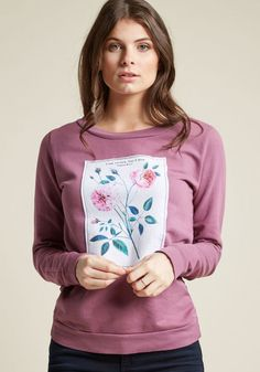 Floral Pullover with Patch Embellishment