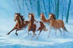Original oil painting by Chris Cummings depicting a group of wild horses running through fresh, powdery snow.