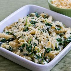 Kalyn's Kitchen®: Penne Pasta Recipe with Wilted Arugula, Basil, Ricotta, and Parmesan Sauce (Meatless)