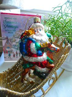 Vintage Ornament - Christmas Decorations - Large Santa Claus - Glass Santa - Christmas Tree Ornament - Santa Ornament by thekingsmistress on Etsy https://www.etsy.com/listing/209839569/vintage-ornament-christmas-decorations