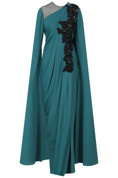 NEETA LULLA Blue Cutdana Work Cape Sleeves Drape Gown. Shop Now! #indianfashion #indiandesigners #fashion #embroidered #perniaspopupshop #happyshopping