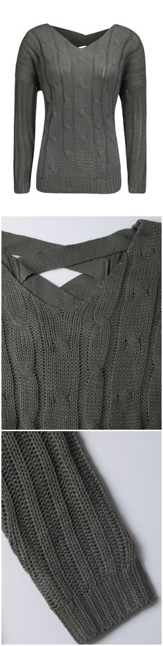 174d6bf0725 Fall Gray Outfits-----Gray V-neck Cable Cross Back Knit Jumper by  Stayingsummer!