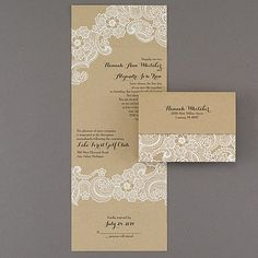 Lacy Accents Seal n' Send Wedding Invitation 40% Off | http://mediaplus.carlsoncraft.com/Wedding/Wedding-Invitations/1080-WRMD30945-Lacy-Accents--Seal-n-Send.pro | WRMD30945 All the romance of white lace makes this affordable, kraft paper seal 'n send wedding invitation perfect for your rustic celebration.