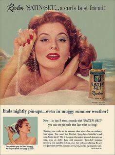 1950s Makeup Revlon Satin-Set Ad Curl Setting Gel for pin-ups Pinterest.com