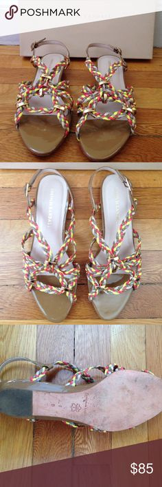 Loeffler RANDALL multi-tan sandals Top: multi-colored patent leather braids. Sole (in and out) - genuine leather. Size 8B but rather for narrow feet (or I would not be selling them). Very beautiful. Worn once. Original price $325. Purchase price $129. Sell price $85. Comes in original box. Loeffler Randall Shoes Sandals