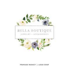 Premade Logo Design, Business Logo, Watercolor Logo, Floral Logo, Wreath Logo, Etsy Shop Logo, Watercolor Flower Logo, Etsy Shop Branding