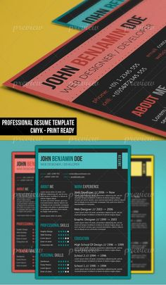 Dark Resume Template by resumepro Get noticed by hiring managers with a dark resume design. Whats imcluded: 3 layered PSD files one for each color variation. Teacher Resume Template, Creative Resume Templates, Print Templates, Resume Ideas, Stationery Templates, Templates Free, Web Design, Resume Design, Graphic Design