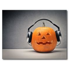Halloween Pumpkin With Headphones For Music Greeting Cards Playlist Halloween, Halloween Theme Song, Halloween Karaoke, Halloween Facts, Halloween Music, Happy Halloween, Party Playlist, Spotify Playlist, Scary Halloween Pumpkins