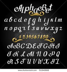Handwritten calligraphy quote font - letters, white on the blackboard background. Letters written by the pen. Letters of the alphabet written with a brush.