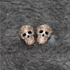 M M I N I M A L Skull Stud Earrings (26 AUD) ❤ liked on Polyvore featuring jewelry, earrings, stud earrings, open heart jewelry, skull stud earrings, rock and roll jewelry and open heart earrings
