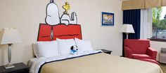 Camp Snoopy room at the Knott's Berry Farm Hotel in CA. I'd use this idea for the bedding!
