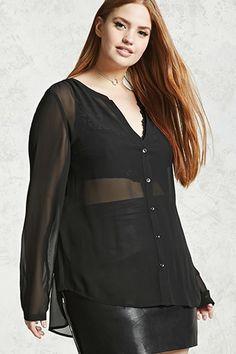 Lazy KoKo Plus Size Semi Sheer V Neck Button Down Stretchy Women Shirt Long Sleeve Solid Black Breathable Shirt Large Size Shirt