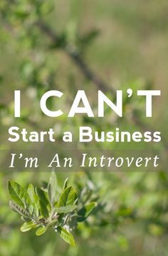 A message for all of you introverts, who think you couldn't possibly succeed in business as well as an extrovert can! // I Can't Start a Business; I'm an Introvert