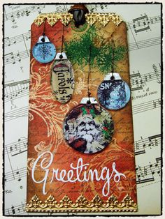 Tim Holtz Christmas Tag w/ornaments #timholtz #christmas