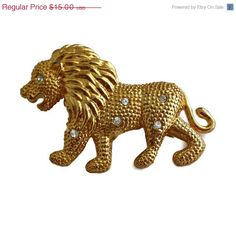 ON SALE Figural lion Brooch with Rhinestones by EclecticVintager, $12.00