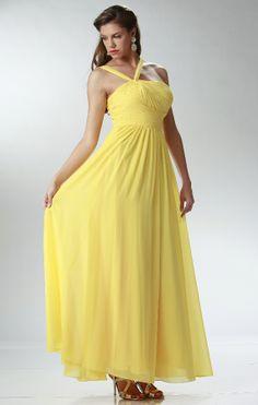 # Chiffon Bridesmaid Dress #bridesmaiddresses  #bridesmaidsdresses #satindresses #cheapbridesmaids #yellow