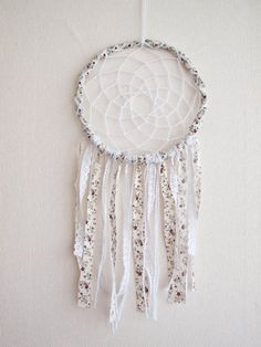 Large Dream Catcher White Flowers With Unique Floral by bohonest