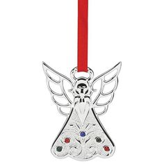 2016 Jeweled Angel Christmas Ornament | Lenox Christmas Tree Decoration | Silver Angel