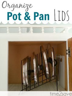 This is a great trick - I finally got all my pots & pans lids to behave in that cabinet - no more falling out in a Lid avalanche!