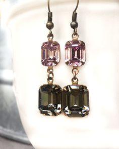 Lilac Wedding Earrings - Delicate Bridal Earrings - Delicate Wedding Earrings - Dangly Earrings - Emerald Cut - Double Stone Earrings
