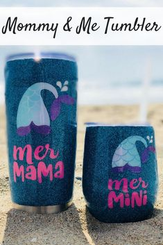 Cute design idea Mommy and Me Tumbler Set Shilouette Cameo, Glitter Cups, Glitter Tumblers, For Elise, Pixie, Silhouette Cameo Projects, Cricut Creations, Mermaid Birthday, Vinyl Projects