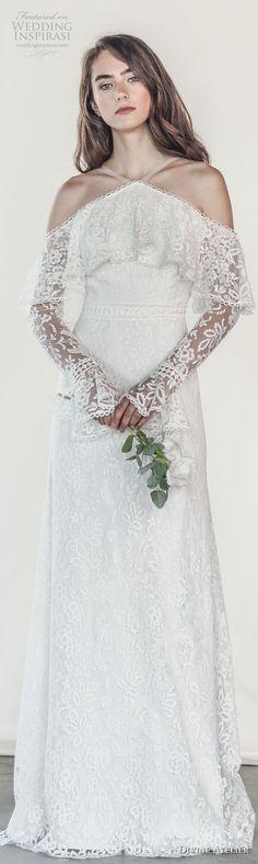 divine atelier 2018 bridal long sleeves halter neck heavily embellished bodice elegant vintage modified a line wedding dress open strap back sweep train (8) lv -- Divine Atelier 2018 Wedding Dresses