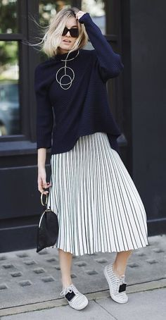 A Sweater, Pleated Midi Skirt, and Sneakers