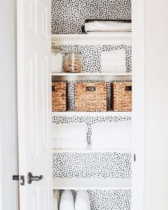 Black and white polka dot wallpaper in hall closet. So cute!::…Click here to download Black and white polka dot wallpaper in hall closet. So cute! Black and white polka dot wallpaper in hall closet. So cute! Download cute wallpaper pinterest: Black and white polka dot wallpaper in hall...