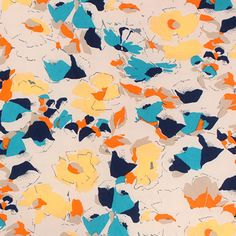Blue Orange Yellow Abstract Poppy Floral Crepe De Chine Fabric - Pretty abstract poppy floral in colors of blue, orange, gold, and taupe on a silver pink crepe de chine fabric.  Fabric is light weight and drapey with a slight sheen.  Yellow flower measures 3