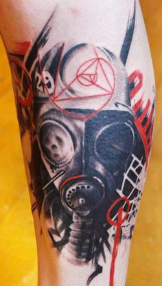 Swarbrick is clearly ready for a post apocalyptic world with all of these gas mask tattoos. Great Tattoos, Leg Tattoos, Body Art Tattoos, Tattoos For Guys, Sleeve Tattoos, Gas Mask Tattoo, War Tattoo, Tattoo Trash, Gas Mask Art