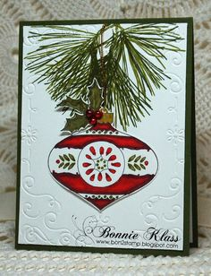 Stamping with Klass: Ornamental Pine with Baubles