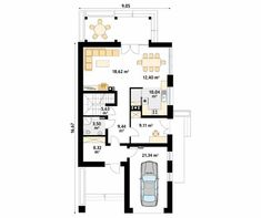 Projekt domu Amarylis 4 - rzut parteru Sliders, Floor Plans, Floor Plan Drawing, House Floor Plans, Romper