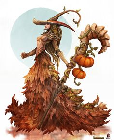 Season Witch - Pathfinder RPG by Eyardt on DeviantArt Fantasy Character Design, Character Creation, Character Art, Character Concept, Witch Characters, Fantasy Characters, Magical Creatures, Fantasy Creatures, Fantasy Races