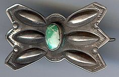 Vintage Navajo Indian Sterling Silver Repousse Green Turquoise Manta Pin