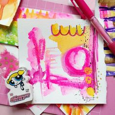Another happy combination of yellow n' pink, flying in today and landing on my desk as a suprise! #artplay #alittleart