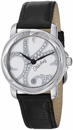 Stuhrling Original Women's 138.12151 Vogue Audrey Isis Swiss Quartz Swarovski Crystal Date Black Watch Stuhrling Original. $99.99. Silvertone beaded dial with swarovski crystal studs and date window at six o'clock position. Water-resistant to 50 M (165 feet). Protective Krysterna crystal on front and decorated case back. Black lizard embossed genuine leather strap with silver tone buckle. Polished stainless steel round shape case with engraved beading on bezel