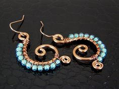 Hammered Copper Spiral Earrings with Wire Wrap Turquoise Glass Beads
