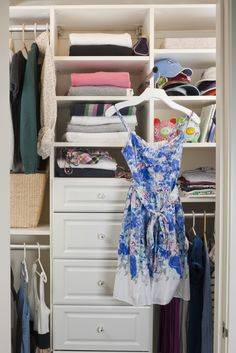 I love this design for a reach-in closet. Perfect for old homes that weren't built with walk-ins. This totally transforms and really utilizes a reach-in closet