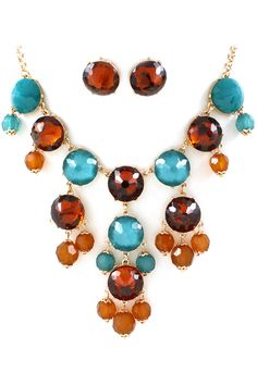 Cognac Bubble Necklace Set   Awesome Selection of Chic Fashion Jewelry   Emma Stine Limited